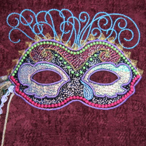MARDI GRAS MASK 1 5X7-Mardi Gras embroidery applique design, exclusive embroidery and applique design, Mardi Gras single embroidery and applique design