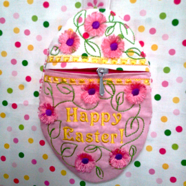 ZIPPERED EASTER WRISTLET /GIFT BAG 5X7-Easter egg zippered wristlet embroidery purse, little girls Easter embroidery designs, Easter egg embroidery treat bag, Easter Egg embroidery gift bag, in the hoop Easter embroidery designs
