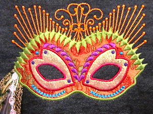 MARDI GRAS / ORIENTAL STYLE MASK  5X7-mardi gras mask embroidery design, mardi gras mask applique,wearable art embroidery and applique designs, oriental embroidery designs, oriental applique designs, exclusive embroidery and applique designs, home decor applique and embroidery designs, contemporary accent embroidery and applique designs, single mardi gras oriental mask embroidery and applique designs,