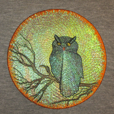 MOON SHADOWS OWL-owl moon Halloween embroidery designs, owl moon Halloween mylar embroidery designs, bird owl embroidery designs, moon shadows owl mylar embroidery design, celestial mylar embroidery designs, moon embroidery designs