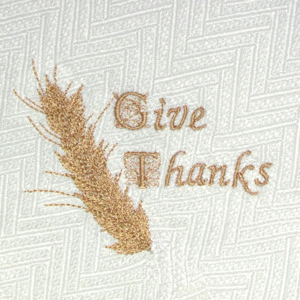GIVE THANKS WHEAT STALK 4X4-Thanksgiving embroidery designs, wheat stalk embroidery design, Fall Autumn embroidery design, napkin embroidery design, tablecloth runner Thanksgiving embroidery design, give thanks embroidery design