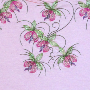 MYLAR BLOSSOM CASCADE-mylar embroidery designs, mylar floral embroidery designs, flower blossom embroidery designs, blossom embroidery designs,exclusive embroidery designs