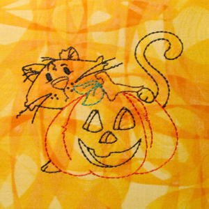 HALLOWEEN CAT AND PUMPKIN REDWORK 4X4-Halloween cat pumpkin redwork embroidery designs, Halloween redwork embroidery