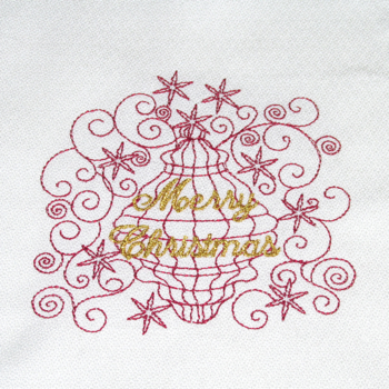 MERRY CHRISTMAS ORNAMENT RW 4X4-Christmas ornament embroidery designs, redwork Christmas ornament embroidery designs, Merry Christmas embroidery designs,