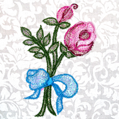 MYLAR ROSE BUD RIBBON-Mylar rose embroidery designs, rosebud Mylar embroidery designs, floral embroidery designs in Mylar, ribbon embroidery desigs, Mylar flower designs