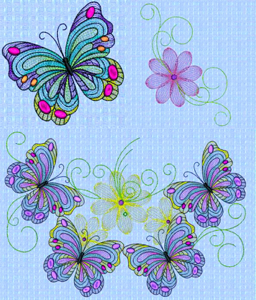 BUTTERFLY BOUNTY in MYLAR  Mini Set 8 X 12-butterfly embroidery designs, Mylar Angelina Film embroidery designs, Mylar butterfly and flower Angelina Film embroidery designs, Spring embroidery designs, Summer embroidery designs, Angelina Film embroidery designs, special effect embroidery designs