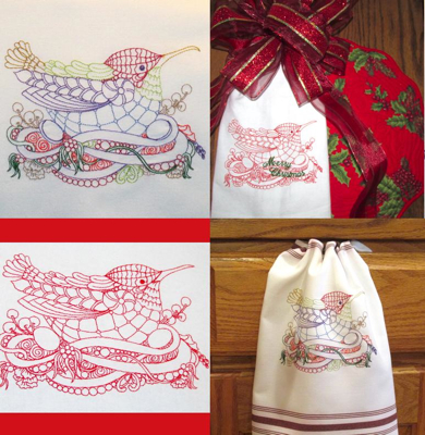 CHRISTMAS BIRD TRIO 5X7-Christmas redwork colorline embroidery, Christmas bird embroidery, Christmas kitchen dining embroidery designs,Christmas home decorating embroidery designs