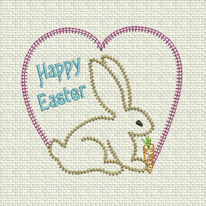 STEM STITCH EASTER BUNNY 4X4-Easter embroidery, Easter bunny embroidery design, Easter redwork colorline embroidery designs, children's Easter clothes embroidery designs, Easter gift embroidery designs, Easter kitchen dining linen embroidery designs,