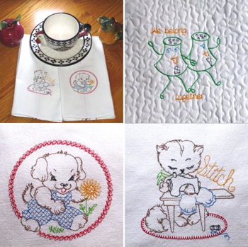 VINTAGE EMBROIDERY SAMPLER-vintage redwork embroidery designs, vintage embroidery sampler designs, vintage cat, dog, horse embroidery, vintage kitchen redwork embroidery designs, vintage wedding embroidery desings