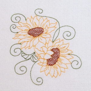 REDWORK SUNFLOWER COLORLINE 1 4X4-sunflower embroidery designs, redwork sunflower embroidery designs, colorline sunflower fall embroidery, Fall Autumn embroidery designs