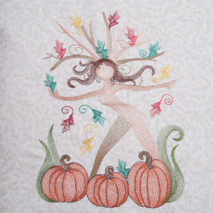 NATURE'S FALL NYMPH 5X7-Fall nature pumpkin embroidery designs, fantasy Fall nymph leaves pumpkin embroidery designs, leaf leaves pumpkin Autumn embroidery design, tree embroidery designs, go green embroidery designs, recycle embroidery designs