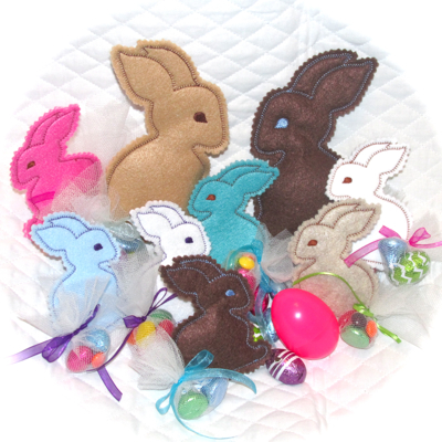 BUNNY IN THE HOOP TREAT SOFTIES-bunny in the hoop treat softies,Easter bunny embroidery in the hoop gift bag stuffies, bunny gift embroidery treat bag gifts, felt bunny softies in the hoop,Easter dining table place settings