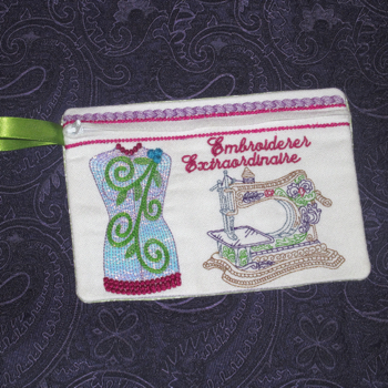 EMBROIDERER EXTRAORDINAIRE PURSE ITH-in the hoop embroidery designs, in the hoop purse, in the hoop case, in the hoop clutch, in the hoop wristlet,