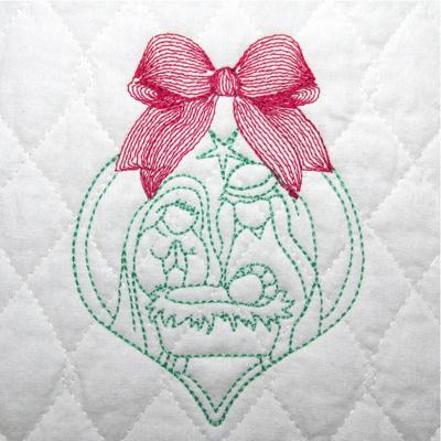 NATIVITY ORNAMENT 4X4-nativity embroidery designs, redwork Christmas embroidery designs, Jesus manger embroidery designs, Christmas ornament embroidery designs, reason for the season embroidery designs