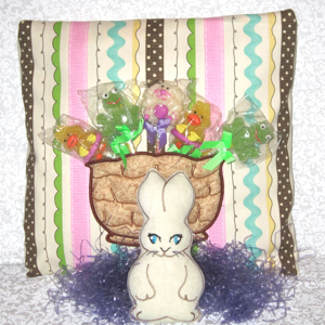 BUNNY in a BASKET POCKET SOFTIE 5X7-Easter bunny in the hoop toy embroidery,children's Easter embroidery, Easter bunny and basket embroidery, Easter in the hoop embroidery, embroidered toys for children, 3-D embroidery Easter designs