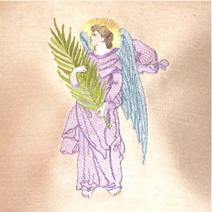 PALM ANGEL 5X7-Christian embroidery designs,angel embroidery designs, religious embroidery designs, Easter angel embroidery design,single embroidery designs,vintage angel embroidery designs,palm sunday embroidery design