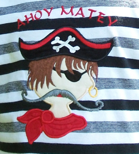PIRATE APPLIQUE 5x7-Children's, boys, pirate, applique, embroidery, designs, single, original, exclusive, embroidery designs, exclusive applique designs