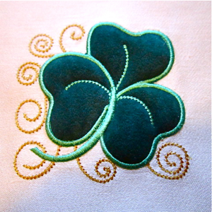 SHAMROCK APPLIQUE 4x4-shamrock applique,St. Patrick's Day embroidery and applique designs, Irish Celtic single embroidery designs, Celtic embroidery designs,Irish embroidery designs