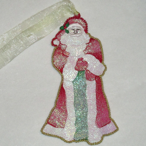 SANTA SHINES FREE STANDING MYLAR ORNAMENTS-Santa embroidery designs,Santa ornament embroidery designs, mylar santa free standing Santa embroidery designs, fsl Christmas designs, fsl Santa designs,holiday fsl designs,mylar angelina film embroidery designs