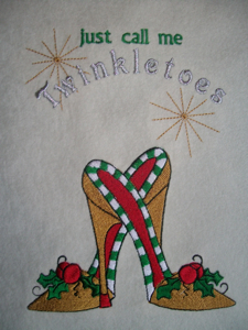 CHRISTMAS SHOE 5x7-Christmas embroidery designs, Christmas shoes embroidery designs, special Christmas embroidery designs, holiday embroidery designs, funky Christmas embroidery designs, different Christmas embroidery designs, Christmas fashion embroidery designs