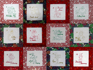 12 DAYS OF CHRISTMAS FULL SET 4X4-12 days of Christmas embroidery designs set, Christmas embroidery designs, 12 days of Christmas series embroidery designs, whimsical 12 days of Christmas, 12 days of Christmas redwork embroidery designs