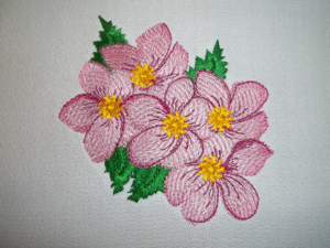 Apple Blossom 4x4-realistic floral embroidery designs, apple blossom embroidery design, embroidery designs for the home, kitchen embroidery designs, flower embroidery designs,