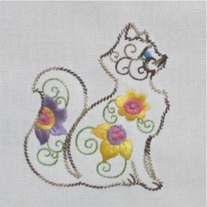 Kitten Colorline Cat Redwork Embroidery Design