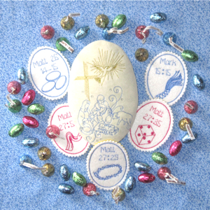 RESURRECTION EGG GIFT SET 5X7-Easter embroidery, Easter egg Christian embroidery, Easter egg in the hoop embroidery, Easter Christian resurrection egg embroidery, Easter Christian resurrection egg in the hoop,religious embroidery designs, Christian embroidery designs, faith embroidery Easter story resurrection designs