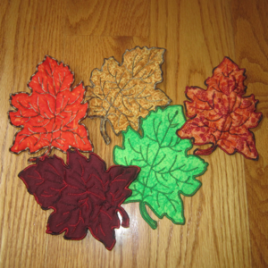 FALL LEAF TRAPUNTO APPLIQUE' 5X7-fall autumn leaf embroidery trapunto applique designs, leaf embroidery designs,leaf applique' designs, Autumn embroidery and applique'designs, fall leaf stumpwork embroidery designs