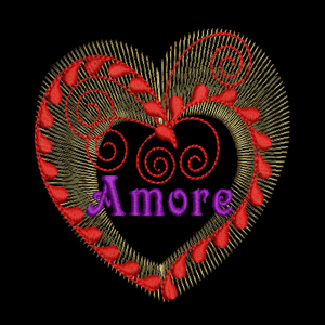 AMORE HEART 4x4-heart Valentine embroidery design exclusive, exclusive amore heart embroidery design, exclusive valentine heart embroidery design single, bridal and wedding exclusive amore heart single embroidery design