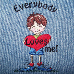 EVERYBODY LOVES ME BOY! 5X7  embroidery design from art by Sassy Cheryl