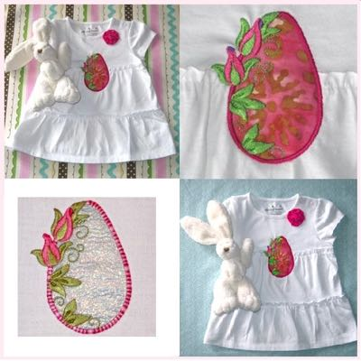 Easter - embroidery - eggs - rose - applique - design