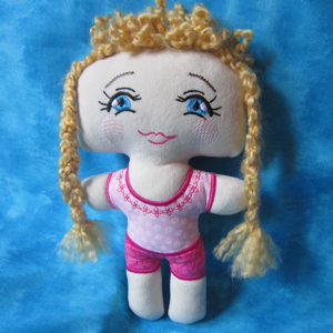 PIGTAILED POLLY in the hoop doll 6X10