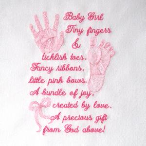 BABY GIRL PRINTS & POEM 5X7