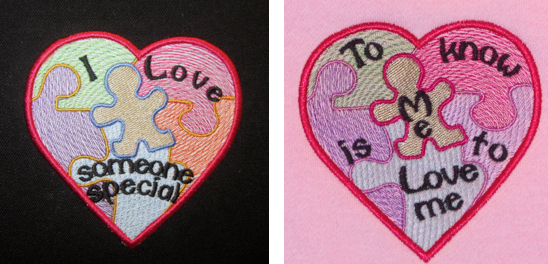 Austism embroidery and applique designs